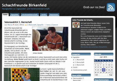 Screenshot des neuen VereinsBlogs
