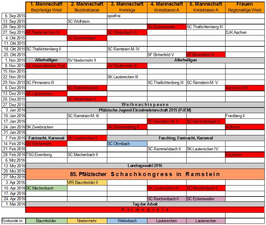 Spielplan 2015-2016