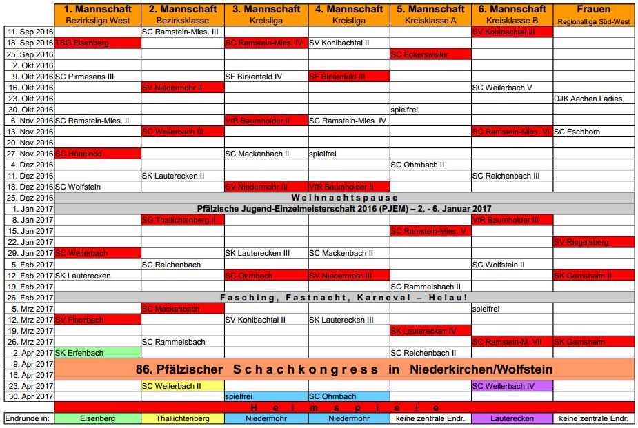 Spielplan 2016-2017